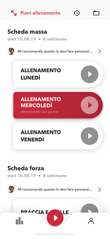 schermata allenamento app REVOO